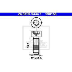 Bolt, brake disc ATE - 24.8190-9434.1