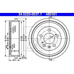 Brake drums (2-wheel set) ATE - 24.0220-0037.1
