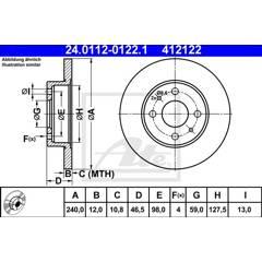 Jeu de 2 disques de frein ATE - 24.0112-0122.1