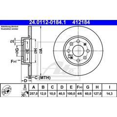 Jeu de 2 disques de frein ATE - 24.0112-0184.1