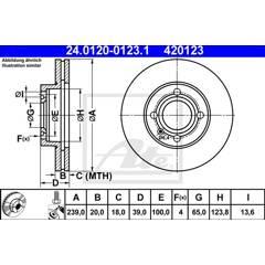 Jeu de 2 disques de frein ATE - 24.0120-0123.1