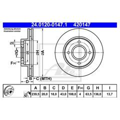 Jeu de 2 disques de frein ATE - 24.0120-0147.1