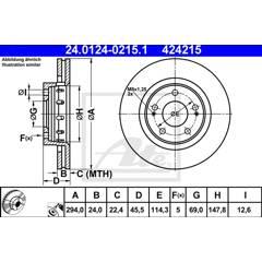 Jeu de 2 disques de frein ATE - 24.0124-0215.1