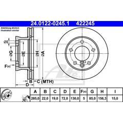 Brake disc set (2) ATE - 24.0122-0245.1