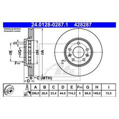 Front brake disc ATE - 24.0128-0287.1