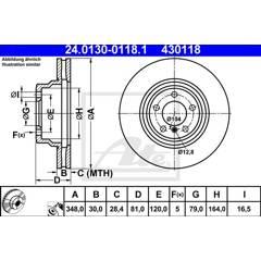 Brake disc (sold individually) ATE - 24.0130-0118.1