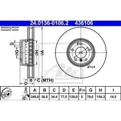 Brake disc (sold individually) ATE - 24.0136-0106.2