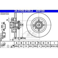 Brake disc (per unit) ATE - 24.0109-0100.2