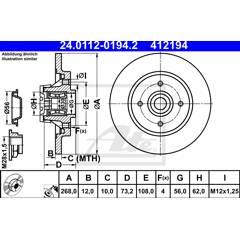 Brake disc (per unit) ATE - 24.0112-0194.2