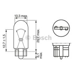 Jeu de 2 ampoules W5W Pure Light BOSCH - 1 987 302 206