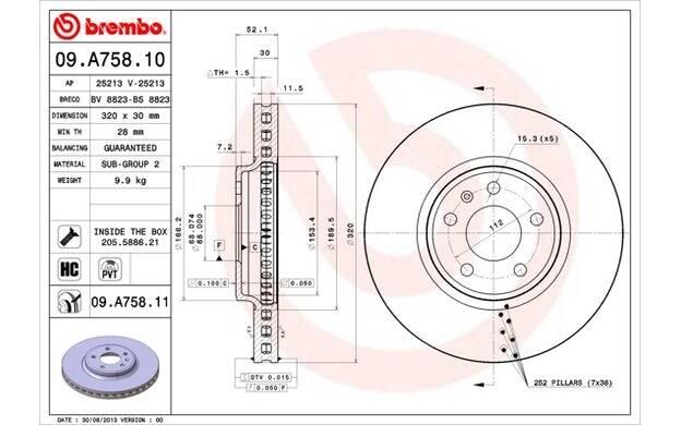BREMBO 09.A758.11 dischi freno anteriore
