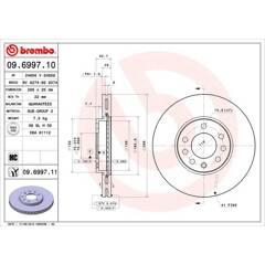 Brake disc set (2) BREMBO - 09.6997.10