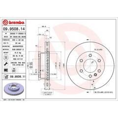 Brake disc (sold individually) BREMBO - 09.9508.14