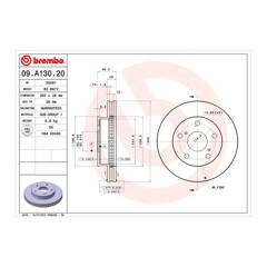 Brake discs (2-wheel set) BREMBO - 09.A130.20