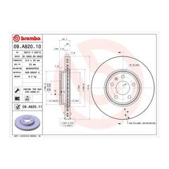 Brake disc (sold individually) BREMBO - 09.A820.11