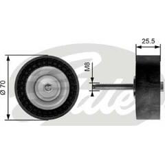 Deflection/Guide Pulley, v-ribbed belt GATES - T36204