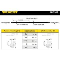 Vérin de capot MONROE - ML5562