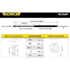 Vérin de capot MONROE - ML5689