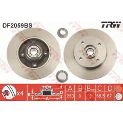 Disque de frein (à l'unité) TRW - DF2059BS