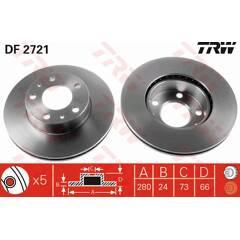 Jeu de 2 disques de frein TRW - DF2721