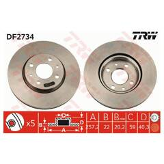 Jeu de 2 disques de frein TRW - DF2734