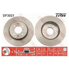 Disques de frein avant ventilé Honda Jazz 1.2 hayon 2002-08 78hp 258 mm