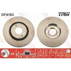 Jeu de 2 disques de frein TRW - DF4183