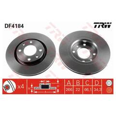 Jeu de 2 disques de frein TRW - DF4184