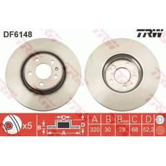 Jeu de 2 disques de frein TRW - DF6148