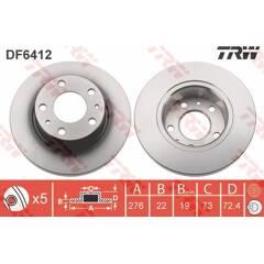 Jeu de 2 disques de frein TRW - DF6412