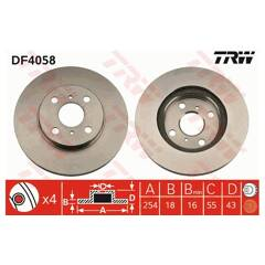Brake disc set (2) TRW - DF4058