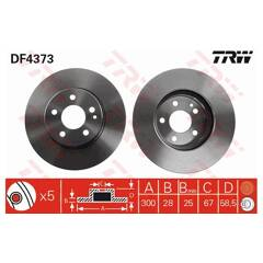 Brake disc set (2) TRW - DF4373