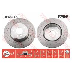 Brake disc (sold individually) TRW - DF6601S
