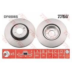 Brake disc (sold individually) TRW - DF6508S