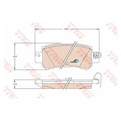 Rear brake pad set (4 pcs) TRW - GDB3539