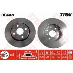 Set van 2 remschijven TRW - DF4469