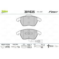 Jeu de 4 plaquettes de frein avant VALEO - 301635