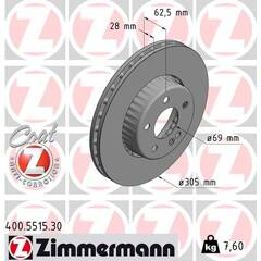 Brake disc set (2) ZIMMERMANN - 400.5515.30
